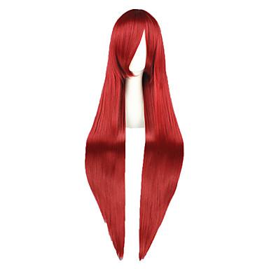 Perucas de Cosplay Fairy Tail Elza Scarlet Vermelho Longas Anime Perucas de Cosplay 100 CM Fibra Resistente ao Calor Masculino / Feminino