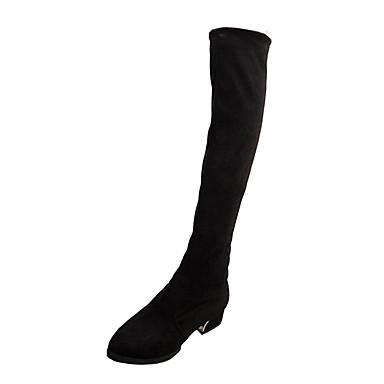 Damen Schuhe PU Winter Modische Stiefel Stiefel Niedriger Heel Perlenstickerei für Normal Schwarz