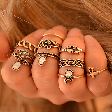 Women's Knuckle Ring Rings Set Elephant Flower Animal Ladies Personalized Vintage Bohemian Punk Fashion Ring Jewelry Silver / Golden For Wedding Party Gift ...