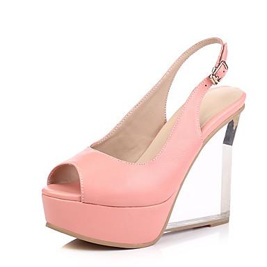 Feminino Sapatos Couro de Gado Primavera Verão Outono Sandálias Plataforma Salto Alto de Cristal Presilha Para Casamento Social Festas &
