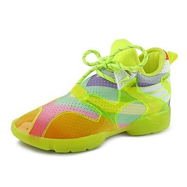Damen Schuhe Kunstleder Frühling Sommer Herbst Winter Komfort Sneakers Niedriger Absatz Schnürsenkel Für Normal Weiß Leicht Grün