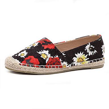 kvinners sko stoff flat hæl rund tå slip-on utendørs / atletisk / kjole sort / hvit
