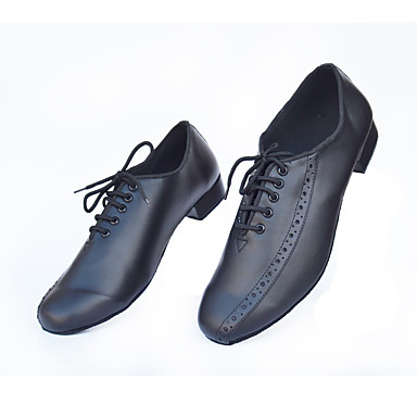 בגדי ריקוד גברים נעליים לטיניות / נעלי ג'אז דמוי עור שטוחות / סנדלים / עקבים שרוכים עקב נמוך מותאם אישית נעלי ריקוד שחור / בבית / הצגה