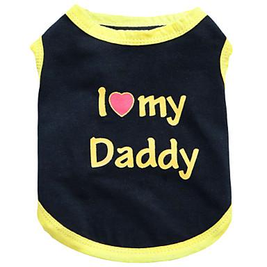 Gato Perro Camiseta Ropa para Perro Corazón Letra y Número Flores / Botánica Negro Negro/Amarillo Algodón Disfraz Para mascotas Hombre
