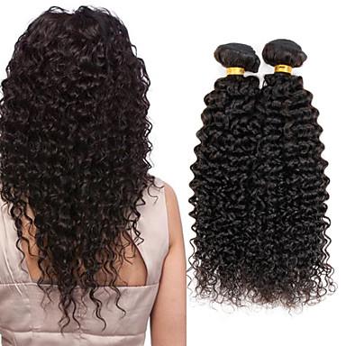 שיער הודי מתולתל / Kinky Curly שיער בתולי טווה שיער אדם 4 חבילות 8-26 אִינְטשׁ שוזרת שיער אנושי מכירה חמה צבע טבעי תוספות שיער אדם / קינקי קרלי