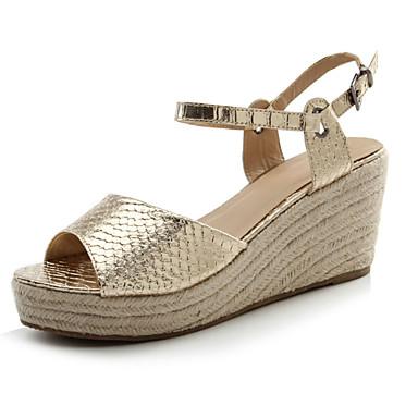 kvinners sko sommer hæler / plattform / slingback sandaler parti&kveld / kjole / uformell kilehæl sølv / gull