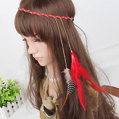 Frauen rot Böhmen einfachen Stirnbänder weben Feder Kette 1 Stück
