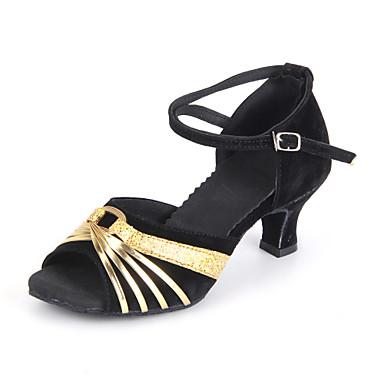 baratos Super Ofertas-Mulheres Sapatos de Dança Camurça Sapatos de Dança Latina / Dança de Salão Rendado Sandália Salto Cubano Não Personalizável Vermelho / Prateado / Dourado / Couro / Couro / EU40