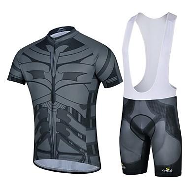 Camisa com Bermuda Bretelle Homens Manga Curta Moto Respirável Redutor de Suor Camisa + Shorts Blusas Calças Elastano GeométricoPrimavera