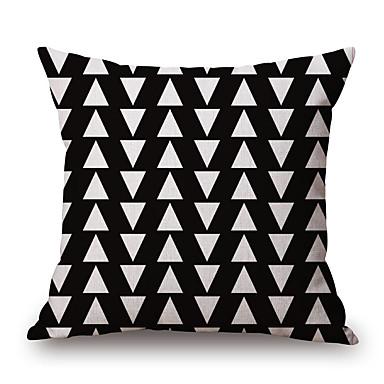 個 コットン/リネン 枕カバー, 幾何学模様 グラフィック カジュアル コンテンポラリー