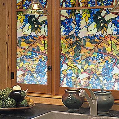 Árvores/Folhas Rústico Adesivo de Janela,PVC/Vinil Material Decoração de janela