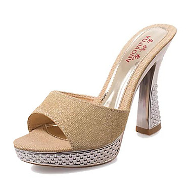 נשי נעלי סנדלי עקבות קיץ pu להתלבש / אחרים עקב שטוחים מזדמנים שחור / כסף / זהב