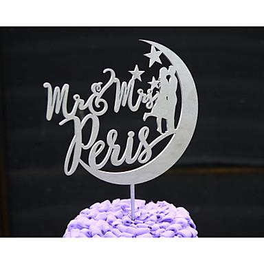 Decoración de Pasteles Personalizado Pareja Clásica / Corazones Papel de tarjeta Matrimonio / Aniversario / Despedida de Soltera Flores