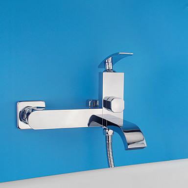 コンテンポラリー アールデコ調/レトロ風 近代の シャワーのみ 組み合わせ式 セラミックバルブ 二つ シングルハンドル二つの穴 クロム, シャワー水栓