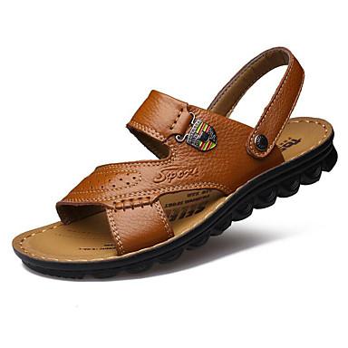 Herrn Schuhe Leder Sommer Sandalen Walking für Normal Draussen Gelb Braun