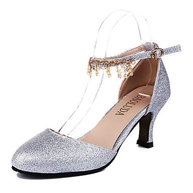 Femme Chaussures Polyuréthane Eté Chaussures à Talons Talon Aiguille Boucle Argent / Doré