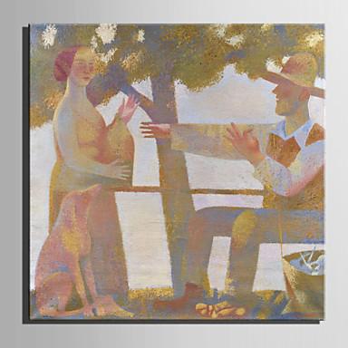 Peinture à l'huile Hang-peint Peint à la main - Personnage Style européen / Moderne Toile