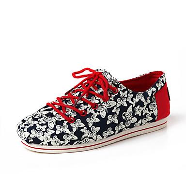 Dame-Tekstil-Flat hæl-Komfort MokkasinKontor og arbeid Fritid-Blå Rød