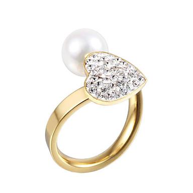 Båndringe Perle imitasjon Diamond Dobbelt lag Overgang Mote Justerbare Bedårende Fødselsstein Sølv Gylden SmykkerBryllup Fest Daglig