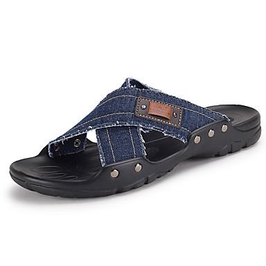 Masculino Chinelos e flip-flops Jeans Verão Casual Caminhada Rasteiro Preto Azul Escuro Khaki
