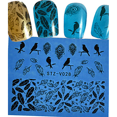 1 pcs Pontas de Unha Completa Jóias de Unhas Laço Autocolantes arte de unha Manicure e pedicure Adorável Flor / Desenho / Casamento Diário / Etiqueta do laço / Jóias de unha