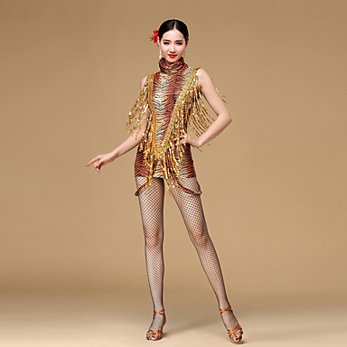 ריקוד לטיני שמלות בגדי ריקוד נשים הצגה נצנצים ויסקוזה Leopard נצנצים פרנזים ללא שרוולים טבעי שמלה