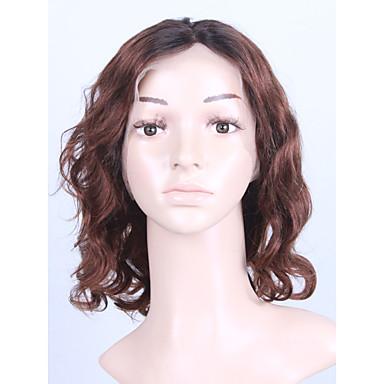 人毛 フルレース かつら ウェーブ 130% 密度 100%手作業縫い付け ブラックアメリカン風ウィッグ ナチュラルヘアライン ショート 女性用 人毛レースウィッグ