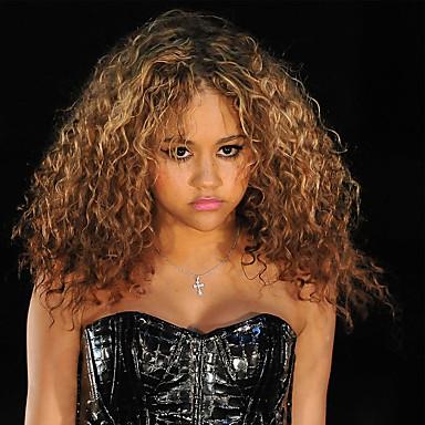 Synthetische Haare Perücken Afro-Frisur Locken Kappenlos Karnevalsperücke Halloween Perücke Schwarze Perücke Braun