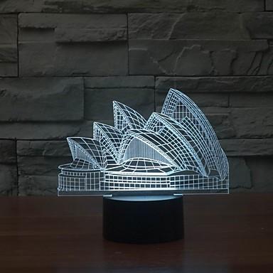 3d beau sydney maison d'opéra décoration a conduit la lumière la nuit la lumière de couleur changeante