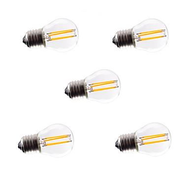 5pcs 4W 360lm E26 / E27 Bombillas de Filamento LED G45 4 Cuentas LED COB Regulable Decorativa Blanco Cálido Blanco Fresco 220-240V