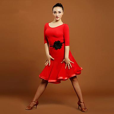 Tenue(Noire / Rouge,Tulle / Viscose,Danse latine)Danse latine- pourFemme Au drapée Entraînement Danse latine Taille moyenne