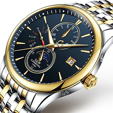 Carnival Herren Sportuhr Modeuhr Mechanische Uhr Nachts leuchtend Mond Phase Automatikaufzug Edelstahl Band Cool Bequem Weiß Gold