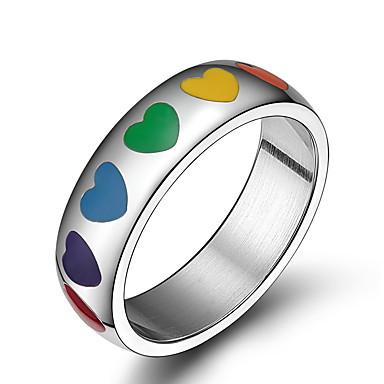 Anéis Grossos Amor Moda Aço Inoxidável Formato de Coração Jóias Para Diário Casual