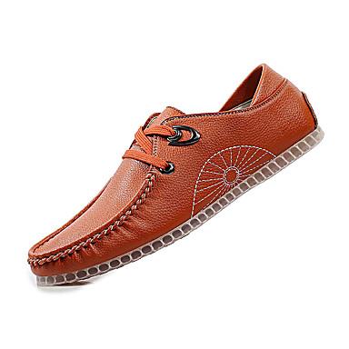 Masculino Sapatos Pele Inverno Primavera Verão Outono Conforto Rasos Caminhada Sem Salto Mocassim para Casual Preto Marron
