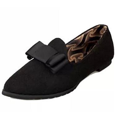 Mulheres Sapatos Flanelado Verão Conforto Rasos Sem Salto Laço Preto / Azul / Vinho