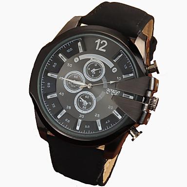 Homens Relógio de Pulso Quartzo Relógio Casual Couro Banda Preta Marrom