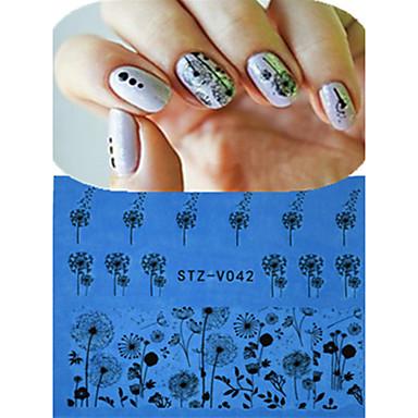 1 Lace Sticker Nail Smykker Hel Negle Tipper Blomst Tegneserie Mote Smuk Bryllup Daglig Høy kvalitet