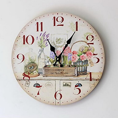Landhaus Stil Blumen/Botanik Wanduhr,Kreisförmig Holz Drinnen Uhr