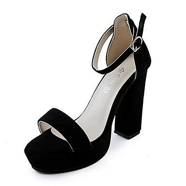 Dames Sandalen Fleece Zomer Causaal Gesp Blokhak Zwart Grijs 5 - 7 cm