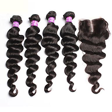 Brazilska kosa Kosa potke zatvaranje Valovita kosa Ekstenzije za kosu 5 komada Prirodna boja
