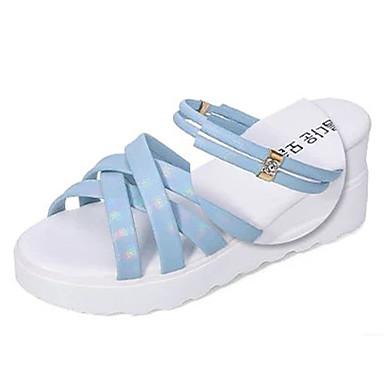 Damen-Slippers & Flip-Flops-Kleid / Lässig-PU-Keilabsatz-Vorne offener Schuh / Stile-Blau / Rosa / Lila