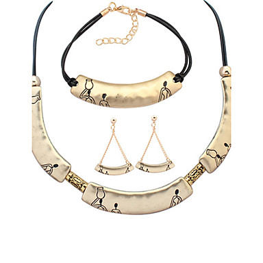 Mode Alliage Argent Doré Colliers décoratifs Boucles d'oreille Bracelet Pour Soirée Quotidien 1set Cadeaux de mariage
