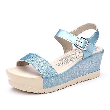 レディース 靴 PUレザー 夏 コンフォートシューズ サンダル フラットヒール ベックル 用途 ホワイト ブルー ピンク