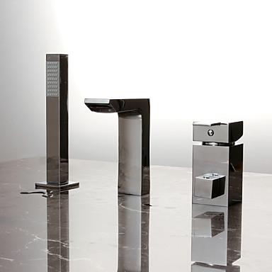 Moderne Baignoire et douche Douchette inclue Séparé Soupape céramique 3 trous Mitigeur Trois trous Chrome, Robinet de baignoire