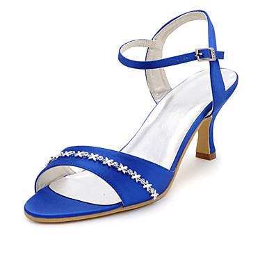DamenHochzeit / Kleid / Party & Festivität-Seide-Stöckelabsatz-Absätze / Zehenfrei-Blau