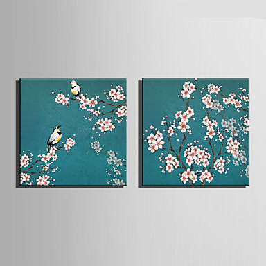 Canvas Set Blomstret/Botanisk Europeisk Stil,To Paneler Lerret Firkantet Print Art Wall Decor For Hjem Dekor