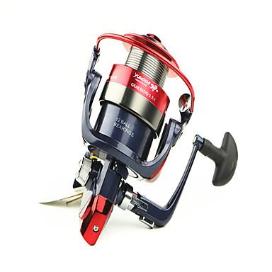 Carretes para pesca spinning 5.2/1 Relación de transmisión+12 Rodamientos de bolas Orientación de las manos Intercambiable Pesca de