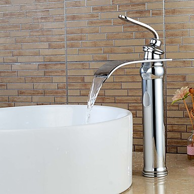 עכשווי סט מרכזי מפל מים נפוץ שסתום קרמי חור אחד חור ידית אחת אחת כרום, חדר רחצה כיור ברז