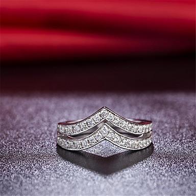 Dames Bandringen Modieus Sterling zilver Strass V-vormige Sieraden Bruiloft