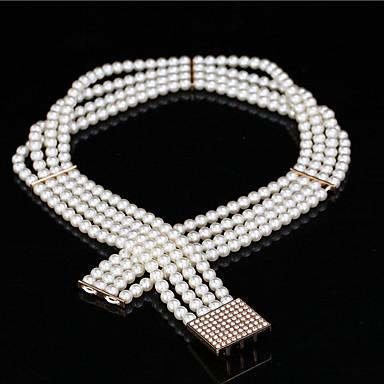 Perler / Elastisk Bryllup / Fest/aften Sash-Imitert Perle Dame 24.5 tommer (ca. 62cm) Imitert Perle